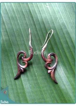 Koru Wing Style Wooden Earrings Sterling Silver Hook 925