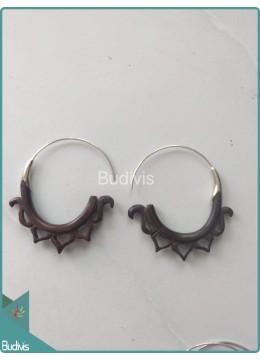 Wooden Fire Earrings Handmade Sterling Silver Hook 925