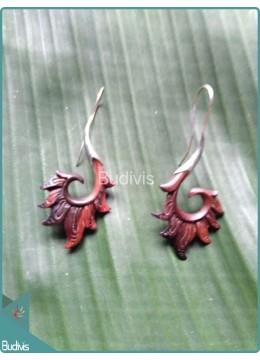Handcraft Wooden Earrings Sterling Silver Hook 925