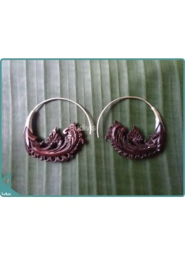 Wooden Floral Earrings 100% Handmade Sterling Silver Hook 925