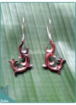 Handcraft Wooden Floral Earrings Sterling Silver Hook 925