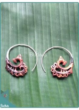 Wooden Handcraft Earrings Sterling Silver Hook 925