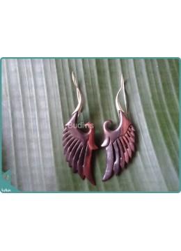 Wooden Eagle Wings Handcraft Earrings Sterling Silver Hook 925