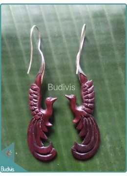 Wooden Earrings With Flying Bird Carving Sterling Silver Hook 925