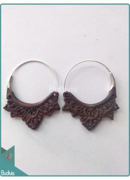 Circle Maori Style Wooden Earrings Sterling Silver Hook 925