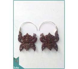 Balinese Style Wooden Earrings Sterling Silver Hook 925
