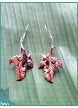 Balinese Style Leaf Wooden Earrings Sterling Silver Hook 925