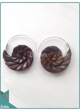 Wooden Snail Earrings Sterling Silver Hook 925