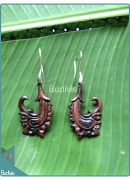 Nature Wooden Carved Earrings Sterling Silver Hook 925