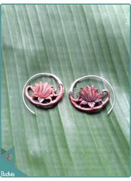 Brown Lotus Wooden Earrings Sterling Silver Hook 925