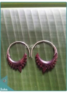Crown Carving Wooden Earrings Sterling Silver Hook 925