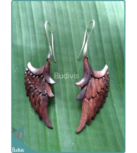 Wooden Wing Earring With  Sterling Silver Hook 925