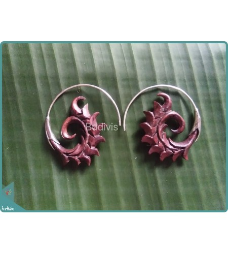 Nature Floral Wooden Handcraft Earrings Sterling Silver Hook 925