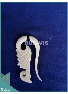 High-Quality Wing Bone Carving Earrings Sterling Silver Hook 925