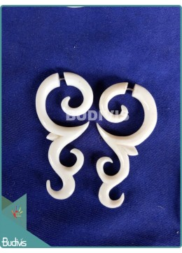 Bone Carving Black Triple Spiral Tribal Earrings Sterling Silver Hook 925