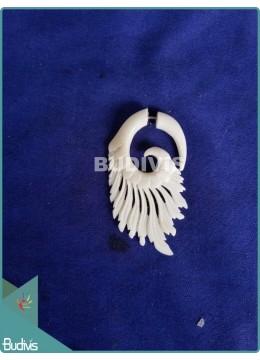 Bone White Angle Wing Earrings Sterling Silver Hook 925