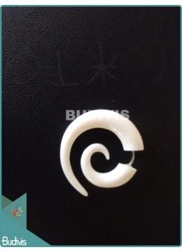 White Spiral Tribal Earrings Sterling Silver Hook 925