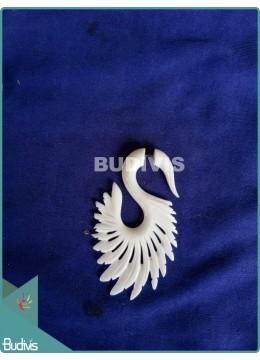 Goose Wing Bone Carving Earrings Sterling Silver Hook 925