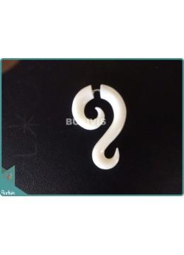 Bone Double Spiral Tribal Earrings Sterling Silver Hook 925