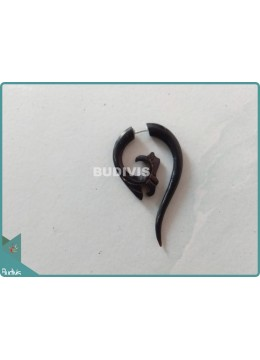 Horn Spiral Stretcher Tribal Earrings Sterling Silver Hook 925