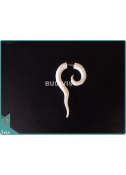Bone White Stretcher Spiral Tribal Earrings Sterling Silver Hook 925