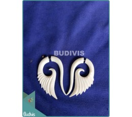 Bone With Eagle Wing Spiral Earrings Sterling Silver Hook 925