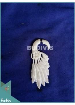 Bone Native American Style Feather Earrings Sterling Silver Hook 925