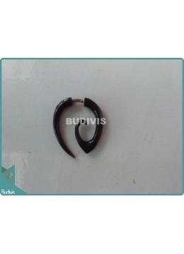 Black Spiral Horn Tribal Errings Sterling Silver Hook 925