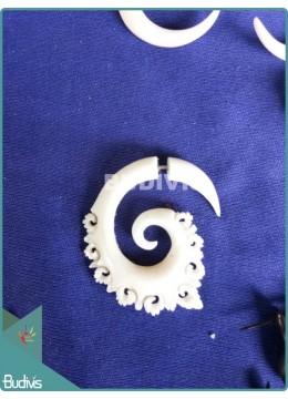 Bone Crafting Spiral Tribal Earrings Sterling Silver Hook 925