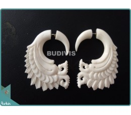 Bone Carving With Wing Style Earrings Sterling Silver Hook 925