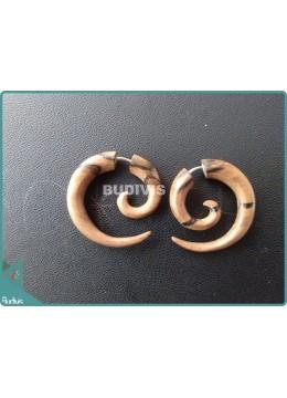 Wooden Brown Spiral Tribal Earrings Sterling Silver Hook 925