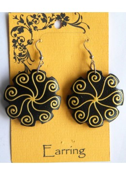 Beaded Wood Earring
