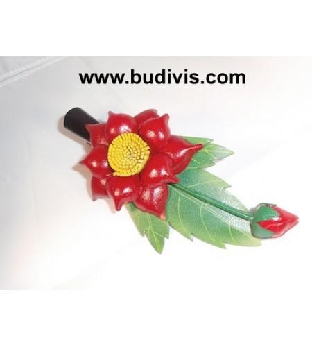 Hair Clip Leather Flower