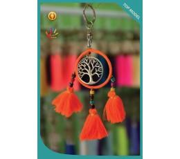 Bali Circle Tree Tassel Keychain