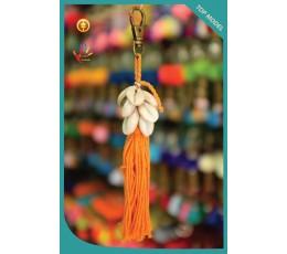 Bali Cowrie Shell Tassel Keychain
