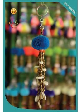 Pom Pom Tassel Keychain With Cowrie