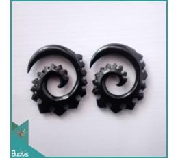 Bali  Carved Spirall Black Horn Body Piercing