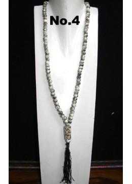 Beaded Wood Tassel Necklace