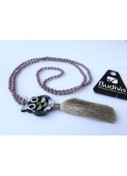 Long Crystal Tassel Necklace Owl