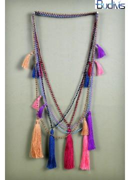 Long Beaded Crystal Tassel Necklace