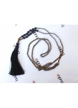 Long Crystal Lava Tassel Necklaces