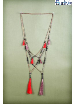 Long Beaded Layered Tassel Necklaces
