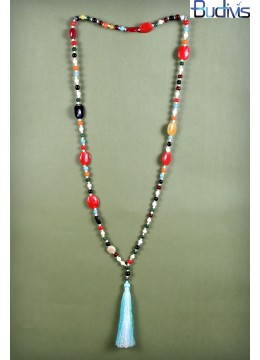 Long Glass Beads Tassel Necklace