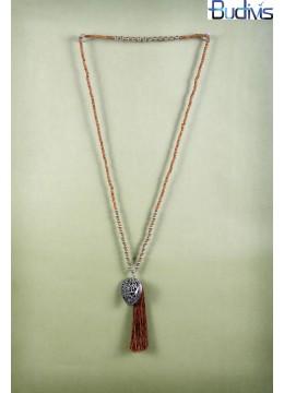 Long Coco Bead Tassel Necklace Heart