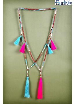 Long rudraksha Gems Tassel Necklace