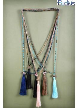Long Mix Crystal Tassel Necklace Elephant