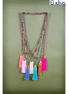 Long Mix Crystal Tassel Necklace