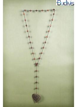 Long Wood Tassel Necklace Elephant