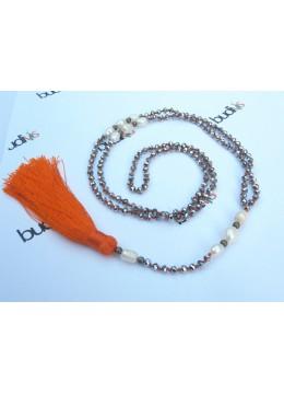 Long Crystal Pearl Tassel Necklace
