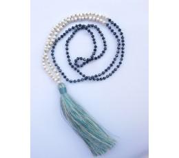 Long Crystal Mini Pearl Tassel Necklace